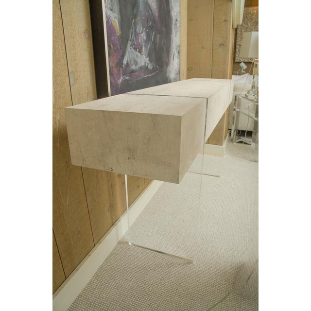 Contemporary 1 Drawer Console With Lucite Legs For Sale - Image 9 of 10
