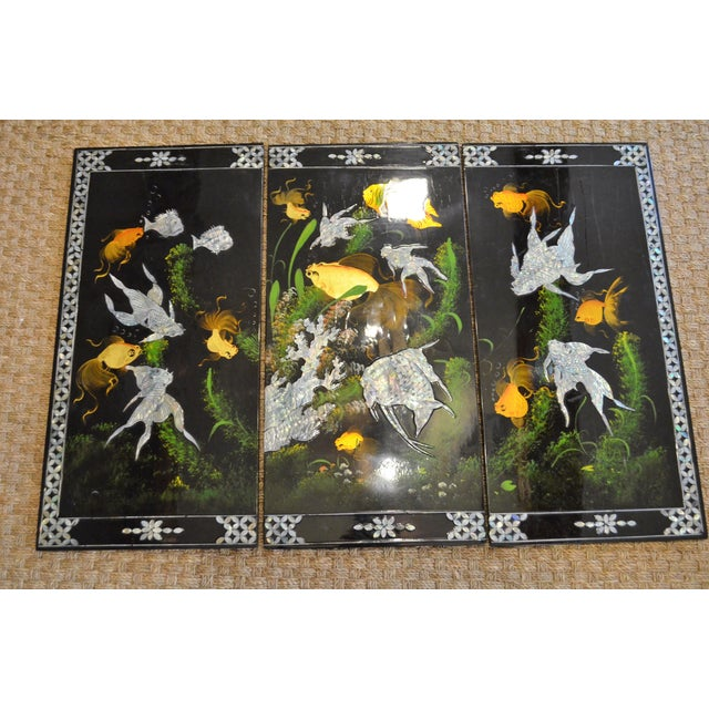 Chinoiserie Mother-of-Pearl Koi Triptych - Image 5 of 6