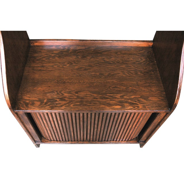 Mid-Century Modern Handmade Wood Bookcase Shelves with Tambour Doors For Sale - Image 3 of 5