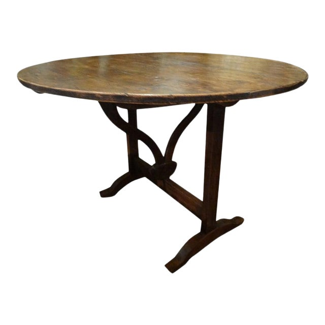 19th Century French Walnut Wine Tasting Table From Burgundy For Sale