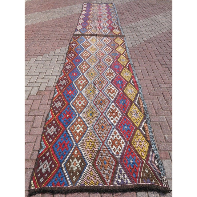 "Oversized Kilim Runner Rug - 4' X 22'11"" For Sale - Image 9 of 9"