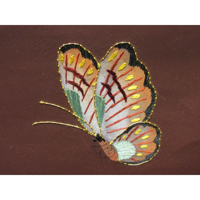 Hand Painted and Embroidered Mural on Paper Backed Silk For Sale In West Palm - Image 6 of 13