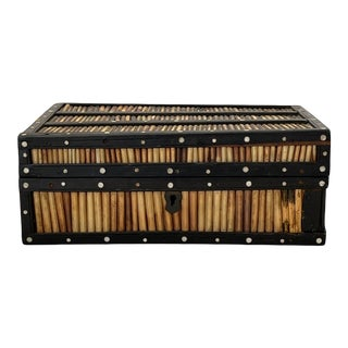 Porcupine Quill Box With Ebonized Wood & Bone For Sale