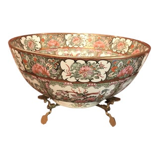 Mid 19th Century Antique Chinese Famile Rose Punch Bowl For Sale