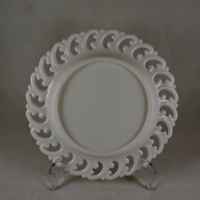 Late 19th Century 19th C. Eapg Lace Edge Milk Glass Dinner Plates, S/4 For Sale - Image 5 of 8
