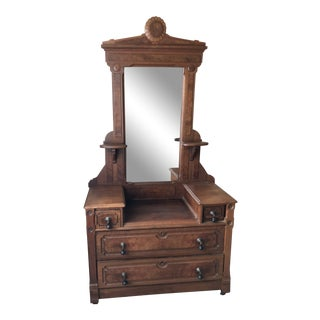 Eastlake Style Vanity With Glass Mirror For Sale