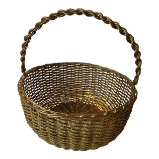 1960s Vintage Round Woven Brass Basket For Sale