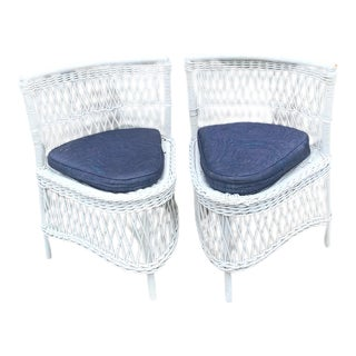 20th Century White Woven Bamboo Chairs With Cushions - a Pair For Sale