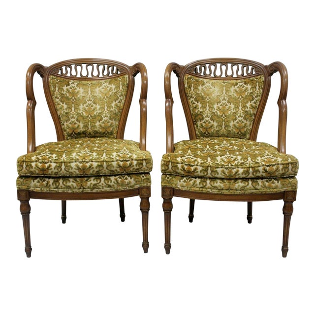 Pair of Vintage Hollywood Regency French Style Squiggle Loop Back Living Room Chairs For Sale