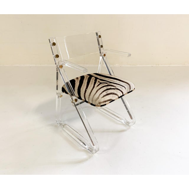Mid-Century Modern Lucite Desk Chair in Zebra Hide For Sale - Image 3 of 7