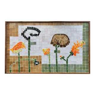 Vintage Outsider Art Ceramic and Glass Tesserae Botanical Wall Plaque For Sale