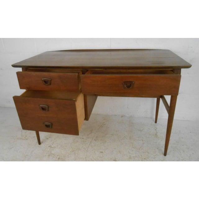 Vintage Modern Walnut Desk by Bassett Furniture   Chairish