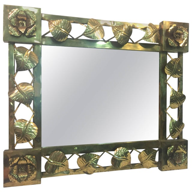 Modern Brass Stylized Flower and Leaves Mirror For Sale