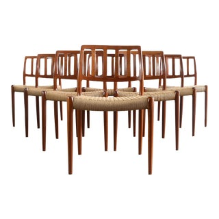 Niels Moller #83 Teak Dining Chairs With Danish Cord - a Set of 8, Denmark For Sale