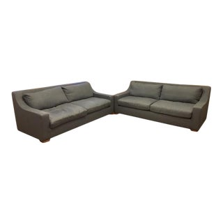 Restoration Hardware Parisian Classic Slope Arm Sofas - a Pair For Sale