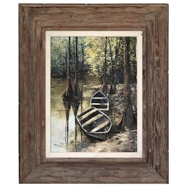 Canvas 1950s Everglades Oil Painting Signed Hermansen on Canvas For Sale - Image 7 of 7