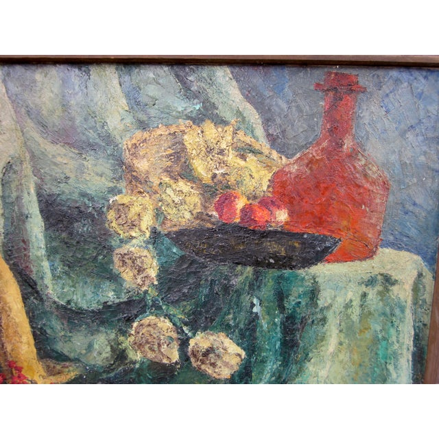 1960s Vintage Suzanne Peters Studio Still Life With Poppies, Dried Roses, Red Berries, Chianti Bottle, Oil on Canvas Painting For Sale - Image 4 of 11