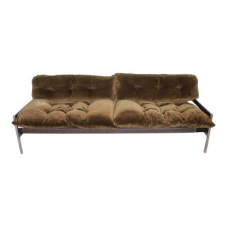 Modern Vtg Safari Sofa Chrome Olive Green Velvet Upholstery Attr Milo Baughman For Sale