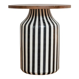 Black and White Striped Ceramic Side Table With Wooden Base