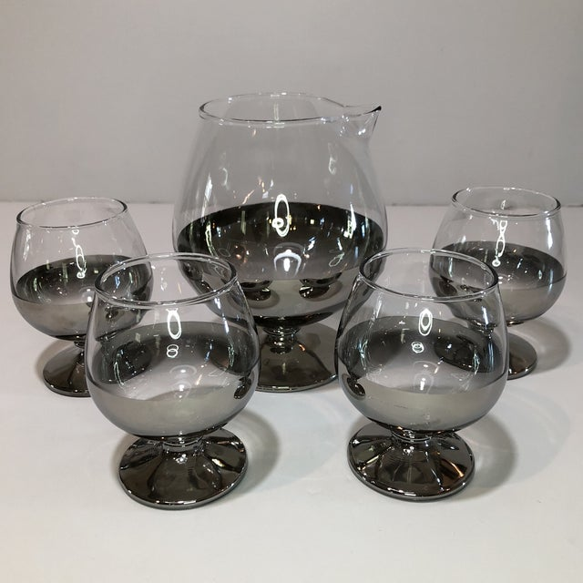 Art Deco Mid Century Platinum Ombre Decanter and Snifter Glasses - Set of Five For Sale - Image 3 of 9