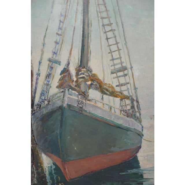 """Unidentified Impressionist """"Starboard Bow at Harbor"""" Oil Painting C.1940s For Sale In San Francisco - Image 6 of 9"""