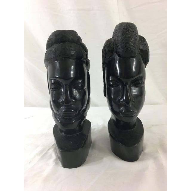 Ebony Carved Gabonese Ebonized Wood Figures - a Pair For Sale - Image 7 of 7