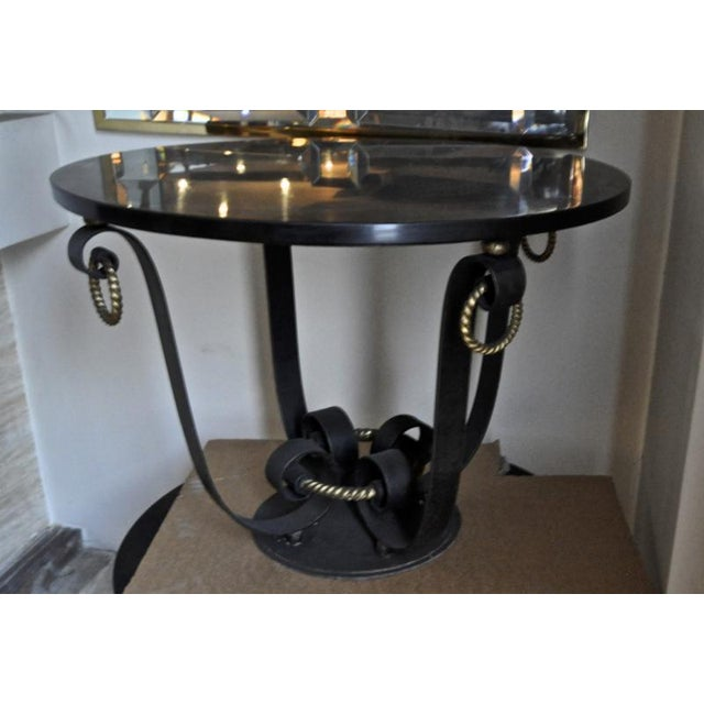 Art Deco Raymond Subes Pair of Wrought Iron & Marble Top Coffee Table For Sale - Image 3 of 7