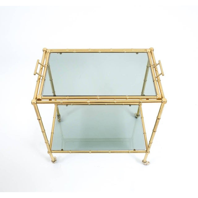 Faux Bamboo Brass Bar Cart with Removable Glass Tray For Sale - Image 6 of 7