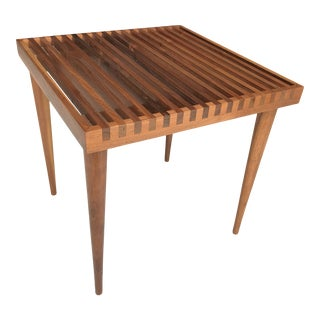 Mel Smilow Walnut Square Slat Bench Side Table For Sale