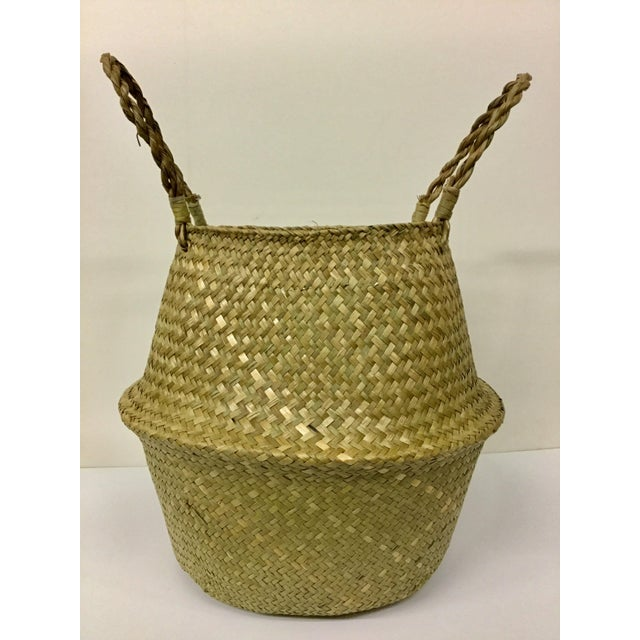 Natural Straw Collapsible Basket For Sale In Portland, ME - Image 6 of 12