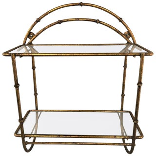 1960s Gilt Faux Bamboo Two-Tier Wall Shelf For Sale