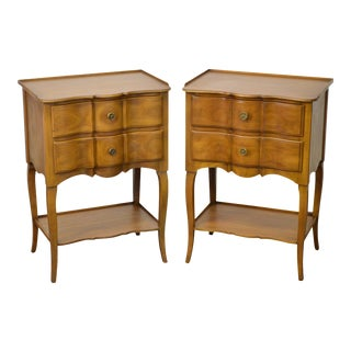 John Widdicomb Vintage Pair of French Louis XV Style Fruitwood Nightstands