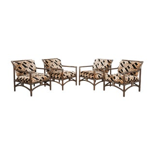French Mid-Century Modern Rattan Armchairs - Set of 4 For Sale