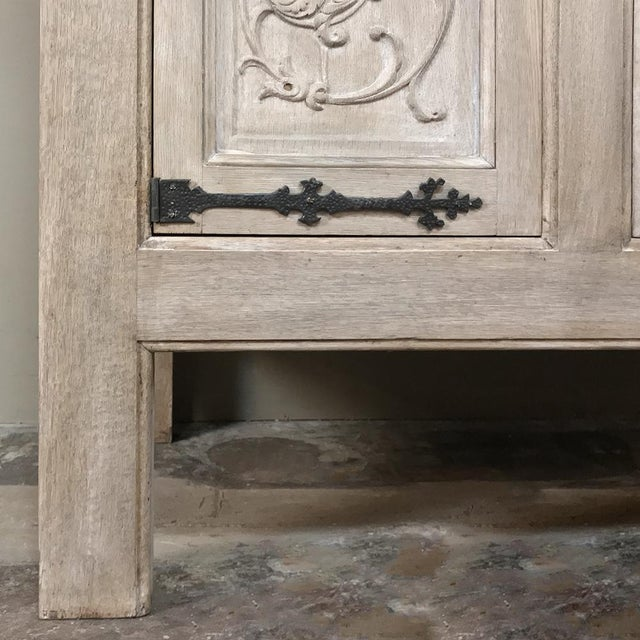 Buffet, Antique Gothic in Whitewashed Oak For Sale - Image 9 of 13