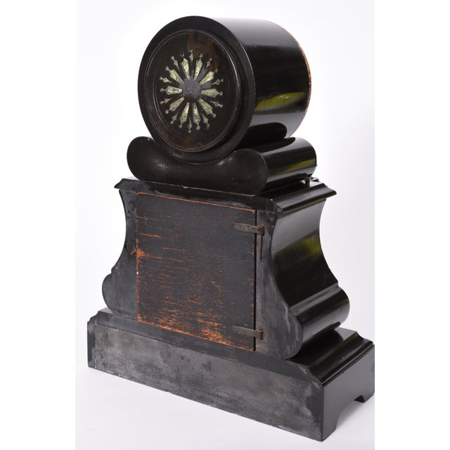 Gold Antique French Marble and Bronze Mantle Clock For Sale - Image 8 of 10