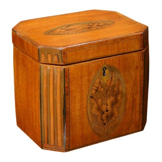 Sheraton Mahogany Inlaid Tea Caddy With Canted Corners For Sale