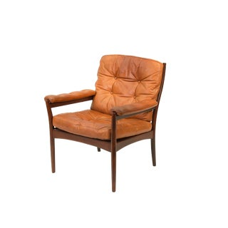 1970s Swedish Gote Mobler Carmen Model Leather Lounge Chair For Sale