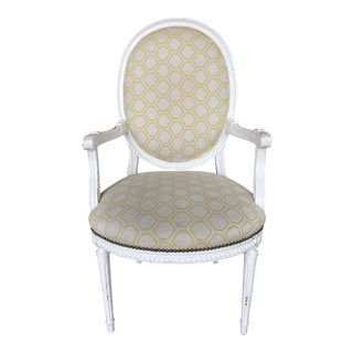 Vintage Louis XVI Fauteuil Style Arm Chair For Sale