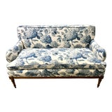 Image of 1940s Antique Blue and White Hydrangea Print Fabric Loveseat For Sale