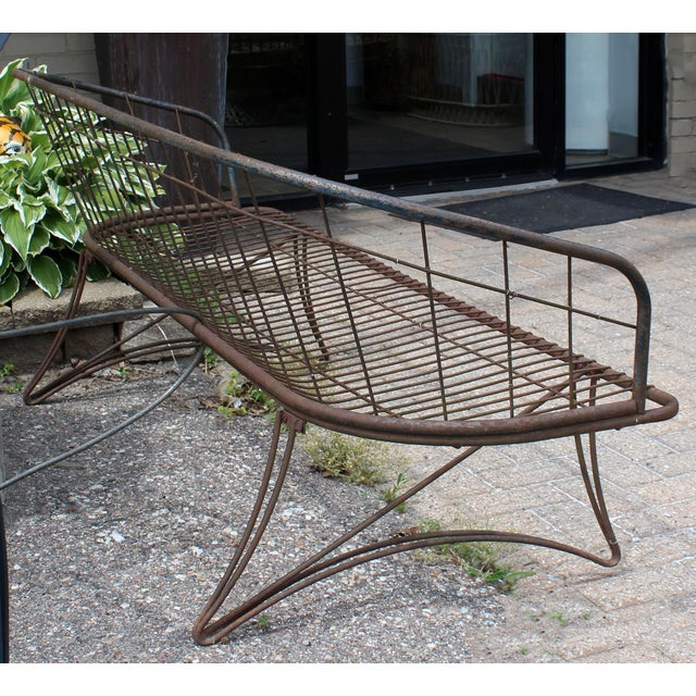 Mid Century Modern Curved Iron Patio Bench Settee Woodard Era 1960s For Sale In Detroit - Image 6 of 7