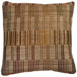 Indian Handwoven Pillow Piano Keys Olive For Sale