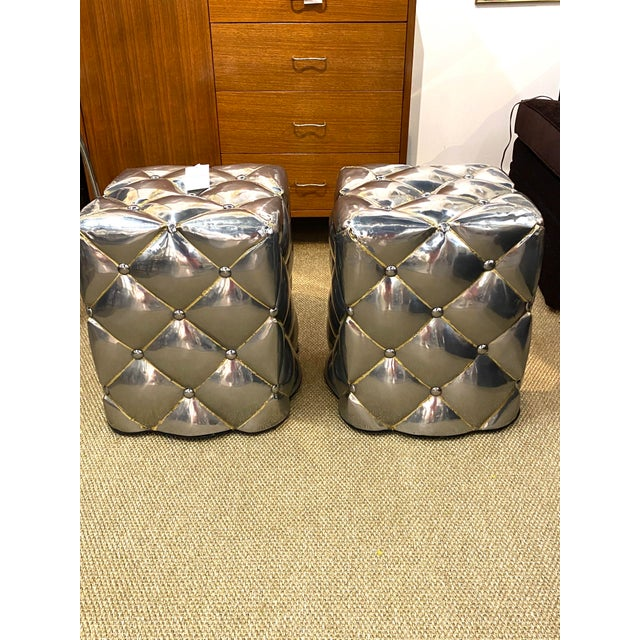 Vintage Pair of Metal Welded Tufts Ottomans Poufs Foot Stools Silver Gold Industrial For Sale - Image 9 of 9