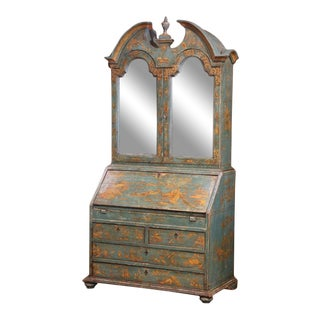 18th Century Italian Hand Painted Secretary Bookcase With Chinoiserie Decor For Sale
