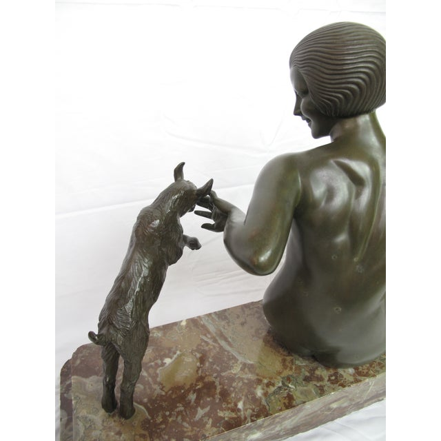 Turquoise Late 19th Century Antique Maurice Guiraud Riviere Nymphe Et Chevreaux Nude Woman With Goats Bronze Sculpture For Sale - Image 8 of 13
