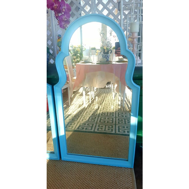 Plastic Set of 2- Vintage Moroccan Style Turqouise Blue Mirrors For Sale - Image 7 of 10
