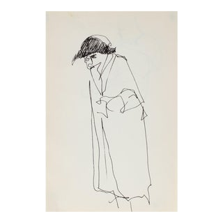 Minimal Figure With a Hat in Ink 1959 For Sale