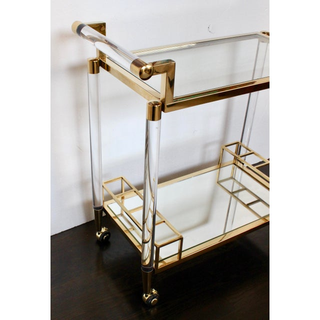 Charles Hollis Jones Vintage Hollywood Regency Lucite Bar Cart For Sale - Image 4 of 6