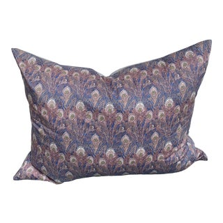Art Deco Liberty of London Blue & Pink Peacock Print Pillow For Sale