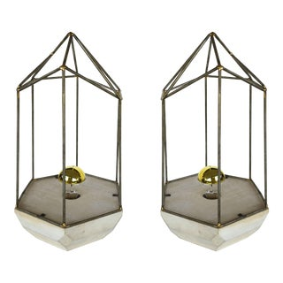 Architectural Hexagonal Table Lamps W/ Gold Capped Bulbs- a Pair For Sale