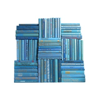 Retro Ocean Book Wall : Set of Seventy Five Decorative Books in Shades of Blue